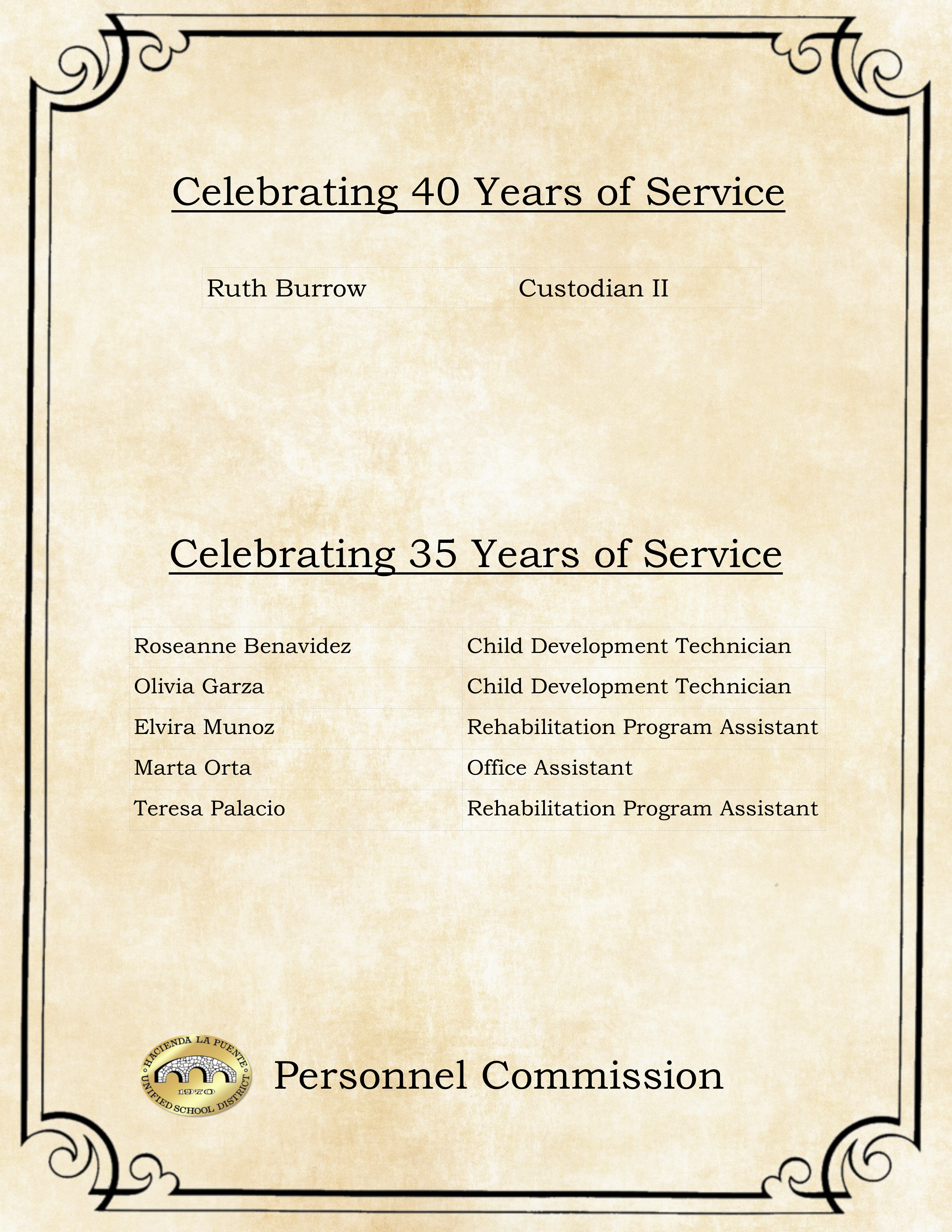 40 & 35 Years of Service