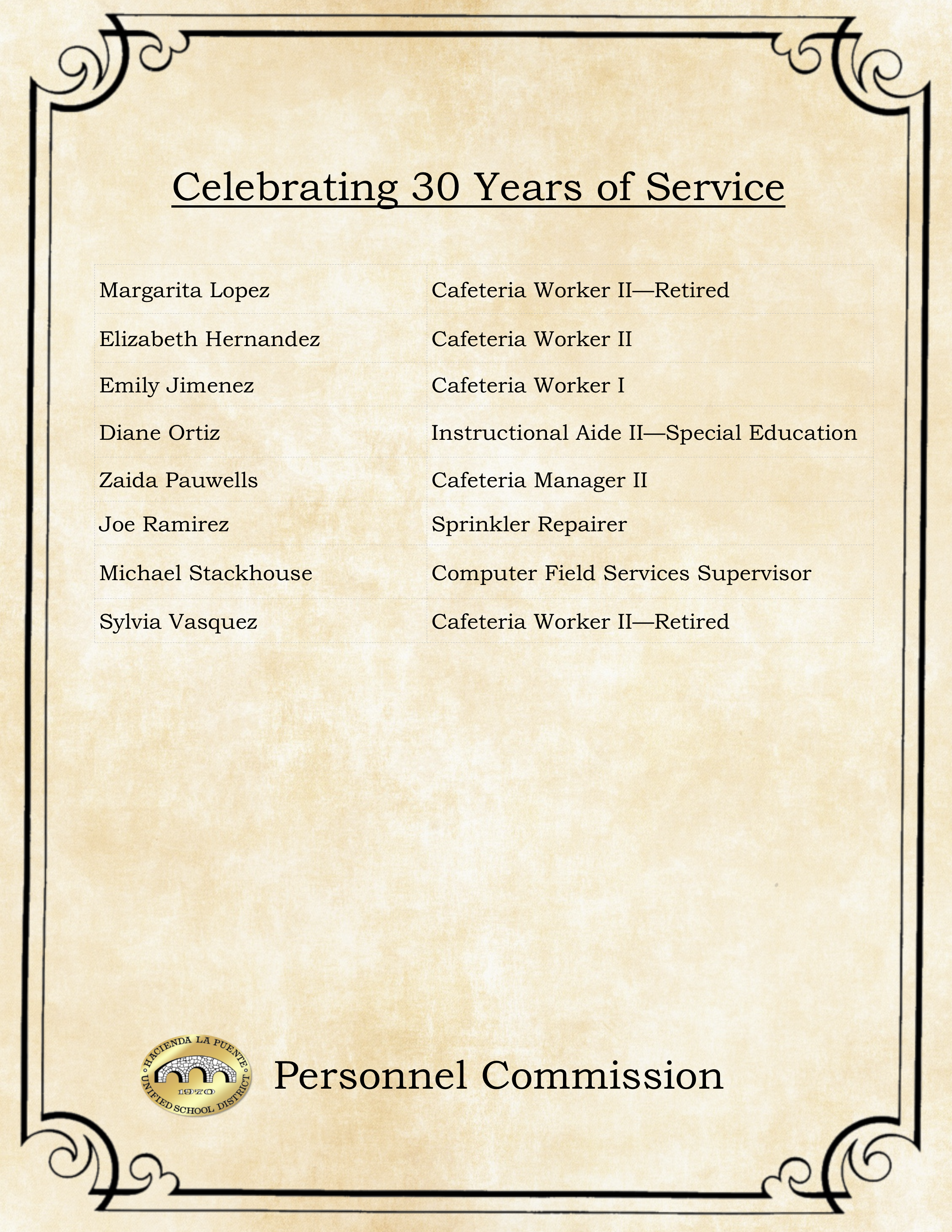 30 Years of Service